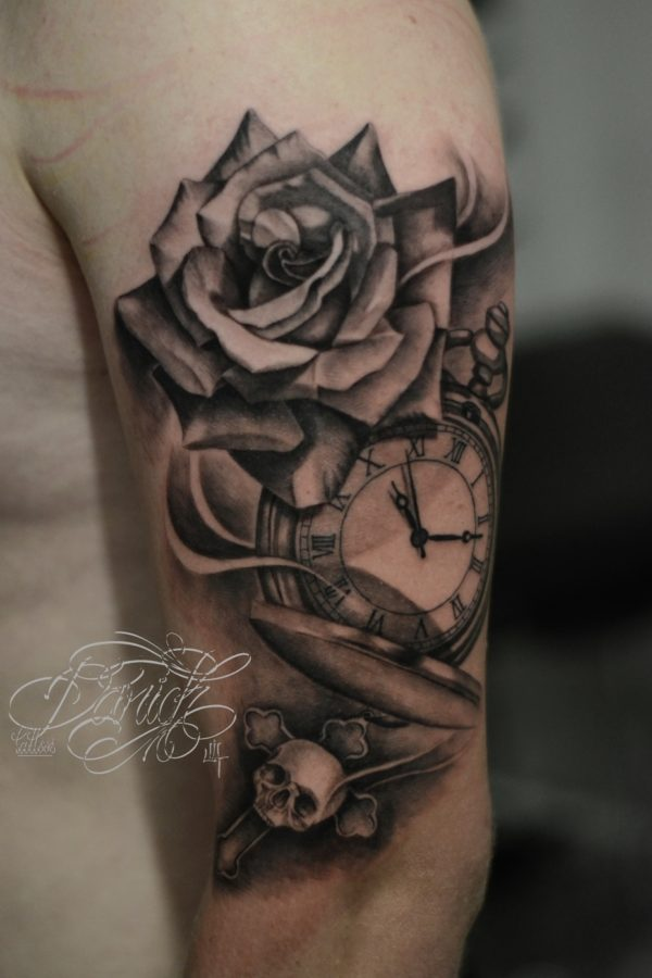 pocket watche ,skull and rose daricktattoos 2