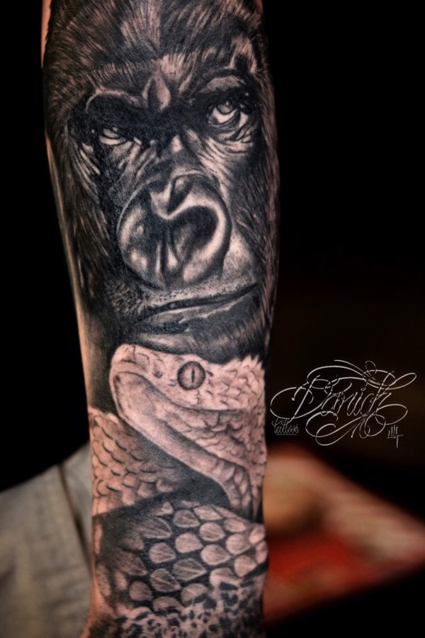 Tattoo gorilla and snake